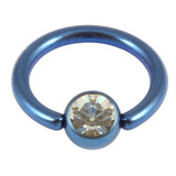 Titanium BCR with Titanium Jewelled Ball - Anodised Coloured 1.6mm, 10mm, Blue with 5mm Crystal Clear Gem