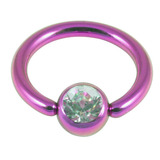 Titanium BCR with Titanium Jewelled Ball - Anodised Coloured 1.6mm, 10mm, Purple with 5mm Crystal Clear Gem