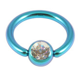 Titanium BCR with Titanium Jewelled Ball - Anodised Coloured 1.6mm, 10mm, Turquoise with 5mm Crystal Clear Gem