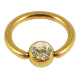 Titanium BCR with Titanium Jewelled Ball - Anodised Coloured 1.6mm, 12mm, Gold with 5mm Crystal Clear Gem