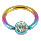 Titanium BCR with Titanium Jewelled Ball - Anodised Coloured 1.6mm, 12mm, Rainbow with 5mm Crystal Clear Gem