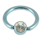 Titanium BCR with Titanium Jewelled Ball - Anodised Coloured 1.6mm, 16mm, Ice Blue with 5mm Crystal Clear Gem