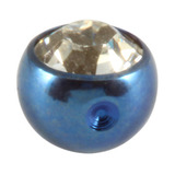 Titanium Clip in Jewelled Ball (for BCR) 4mm, Blue, Crystal Clear
