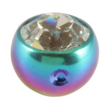 Titanium Clip in Jewelled Ball (for BCR) 4mm, Rainbow, Crystal Clear