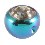 Titanium Clip in Jewelled Ball (for BCR) 4mm, Turquoise, Crystal Clear