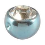 Titanium Clip in Jewelled Ball (for BCR) 4mm, Ice Blue, Crystal Clear