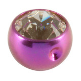 Titanium Clip in Jewelled Ball (for BCR) 5mm, Purple, Crystal Clear