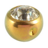 Titanium Clip in Jewelled Ball (for BCR) 5mm, Gold, Crystal Clear