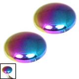 Titanium Threaded Attachment - Disks 1.6mm 4mm, Rainbow (Pair)