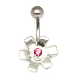 Belly Bar - Jewelled Flower (TU13) Pink