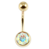 Zircon Titanium Jewelled Belly Bars (Gold colour PVD) 1.6mm, 10mm, Crystal AB