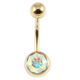 Zircon Titanium Jewelled Belly Bars (Gold colour PVD) 1.6mm, 12mm, Crystal AB