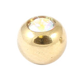 Zircon Titanium Jewelled Balls 1.2mm (Gold colour PVD) 1.2mm, 3mm, Crystal AB