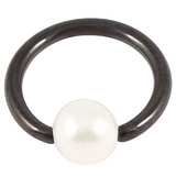 Black Steel BCR with Acrylic Pearl Ball 1.2mm x 10mm (4mm)