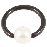 Black Steel BCR with Acrylic Pearl Ball 1.6mm x 8mm (4mm)