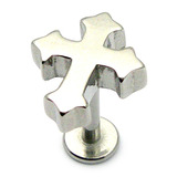Steel Labret with Cast Steel Attachment 1.6mm 1.6mm, 10mm, Gothic Cross