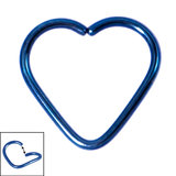 Titanium Coated Steel Continuous Heart Rings 1mm, 12mm, Blue