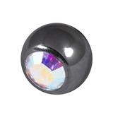 Black Titanium Jewelled Balls 1.2x3mm 1.2mm, 3mm, Crystal AB