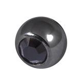 Black Steel Threaded Jewelled Balls (1.6x5mm) Jet Black