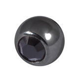 Black Steel Threaded Jewelled Balls (1.6x6mm) Jet Black