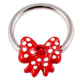 Acrylic Polka Dot Red Bow on Steel Nipple Ring BCR 1.6mm, 12mm