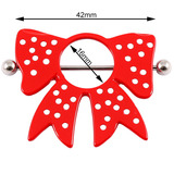 Polka Dot Red Bow Nipple Surround with Bar 1.6mm, 16mm