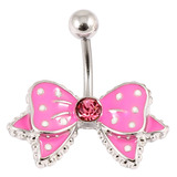 Belly Bar - Polka Dot Bow 1.6mm, 10mm(most popular size), Pink