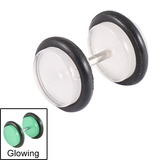 Acrylic Glow in the Dark Fake Plugs Clear / 8mm diameter Disks