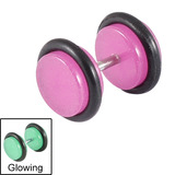 Acrylic Glow in the Dark Fake Plugs Purple / 8mm diameter Disks