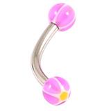 Acrylic Glitter Star Ball Micro Curved Barbell 1.2mm 1.2mm x 8mm / Purple