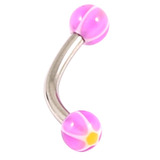 Acrylic Glitter Star Ball Micro Curved Barbell 1.2mm 1.2mm x 10mm / Purple