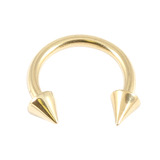 Zircon Steel Coned Circular Barbells (CBB) (Horseshoes) (Gold colour PVD) 1.2mm, 6mm, 3mm