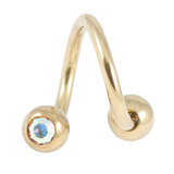 Zircon Steel Double Jewelled Spirals 1.6mm (Gold colour PVD) 1.6mm, 10mm, 4mm / Crystal AB