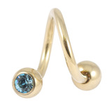 Zircon Steel Double Jewelled Spirals 1.6mm (Gold colour PVD) 1.6mm, 10mm, 4mm / Light Blue