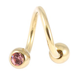 Zircon Steel Double Jewelled Spirals 1.6mm (Gold colour PVD) 1.6mm, 10mm, 4mm / Light Pink