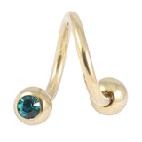 Zircon Steel Double Jewelled Spirals 1.6mm (Gold colour PVD) 1.6mm, 10mm, 4mm / Turquoise