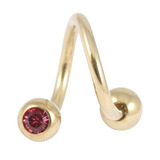 Zircon Steel Double Jewelled Spirals 1.6mm (Gold colour PVD) 1.6mm, 12mm, 5mm / Pink