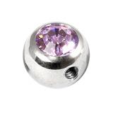 Steel Side-threaded Jewelled Balls 1.6x8mm lilac
