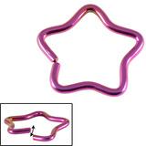 Titanium Coated Steel Continuous Star Rings 1.2mm, 10mm, Purple