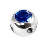 Steel Side-threaded Jewelled Balls 1.6x5mm Capri Blue