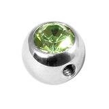 Steel Side-threaded Jewelled Balls 1.6x5mm Lt Green