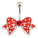 Belly Bar - Polka Dot Bow 1.6mm, 10mm(most popular size), Red