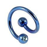 Titanium Double Jewelled Spirals 1.6mm (Coloured metal) 8mm, Blue, Light Blue