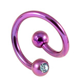 Titanium Double Jewelled Spirals 1.6mm (Coloured metal) 8mm, Purple, Light Blue