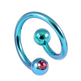 Titanium Double Jewelled Spirals 1.6mm (Coloured metal) 12mm, Turquoise, Pink