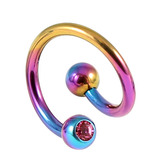 Titanium Double Jewelled Spirals 1.6mm (Coloured metal) 8mm, Rainbow, Pink