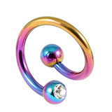 Titanium Double Jewelled Spirals 1.6mm (Coloured metal) 10mm, Rainbow, Crystal Clear