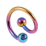 Titanium Double Jewelled Spirals 1.6mm (Coloured metal) 10mm, Rainbow, Sapphire Blue