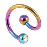 Titanium Double Jewelled Spirals 1.6mm (Coloured metal) 12mm, Rainbow, Crystal AB