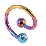 Titanium Double Jewelled Spirals 1.6mm (Coloured metal) 12mm, Rainbow, Light Blue